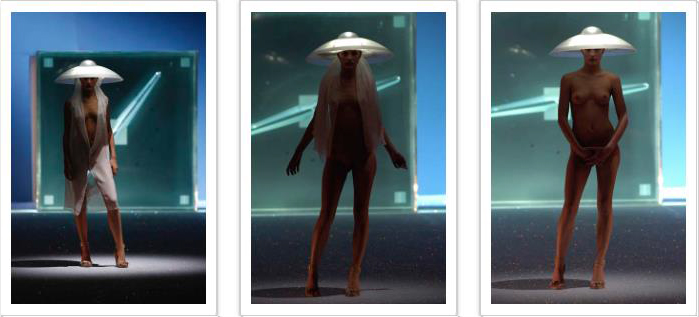 Hussein Chalayan, Londres, SS2007, One Hundred and Eleven, Tenue numéro 33, 6ère robe morphing